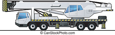 truck crane - illustration of a autocrane. Simple gradients...