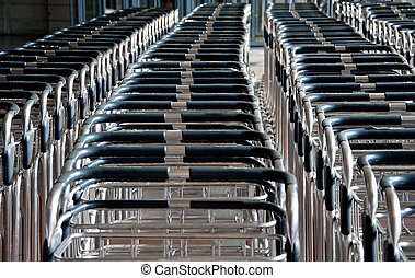 Several carts to carry bags at the airport - BILBAO MAY 19...