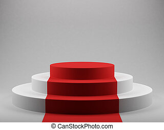 podium with red carpet - 3d render of podium with red carpet