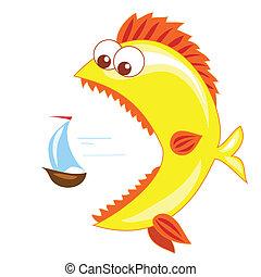 gold fish and boat - large goldfish pursues a small sailboat