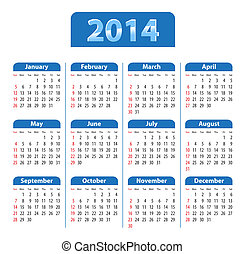 Calendar 2014 blue - Blue glossy calendar for 2014 Sundays...