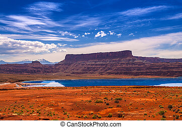 Evaporation Ponds near Potash Road in Moab Utah -...