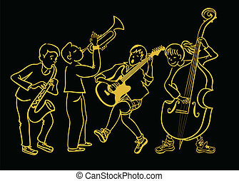 Kids music band - Children plays musical instrument, vector...