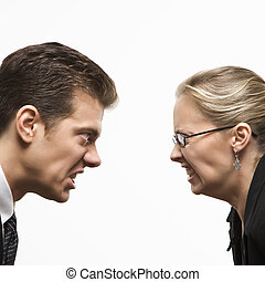 Man versus woman - Close-up of Caucasian mid-adult man and...