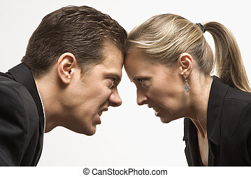 Battle of the sexes. - Caucasian mid-adult man and woman...