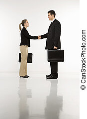 Businesspeople shaking hands - Caucasian mid-adult...