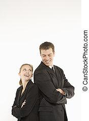 Happy businesspeople.