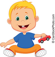 Baby cartoon playing car toy - Vector illustration of Baby...