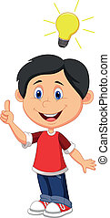 Boy cartoon with a good idea - Vector illustration of Boy...