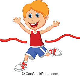 Boy cartoon ran to the finish line - Vector illustration of...