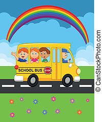 Cartoon School Bus With Happy Child - Vector illustration of...