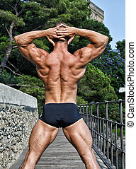Muscular, bodybuilder's, back, hands, behind, his, head