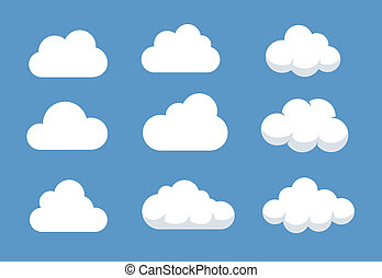 Different Cloud shapes - Set of different shaped clouds.