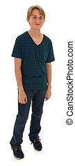 Handsome shy teen boy standing over white with clipping path...