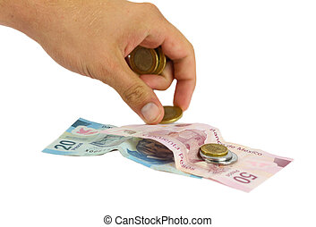Cash - Hand counting money bills and coins