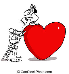 Love rejection - Vectorel conceptual humorous cartoon about...