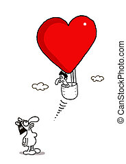 Escape from Love - Vectorel conceptual humorous cartoon...