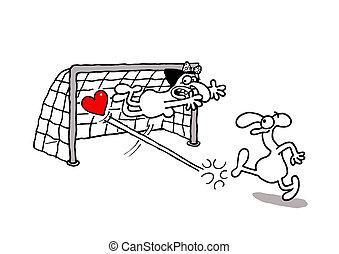 Love goal - Vectorel conceptual humorous cartoon about...