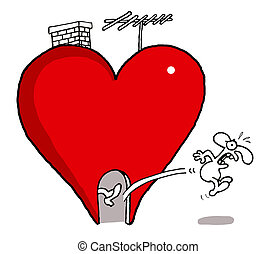 Kicked out from love - Vectorel conceptual humorous cartoon...