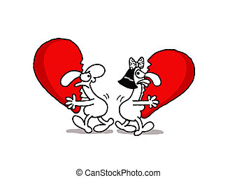 Sharing Love - Vectorel conceptual humorous cartoon about...