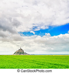 Mont Saint Michel monastery landmark and green field. Normandy, France