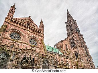Strasbourg, Cathedral Notre Dame Alsace, France -...
