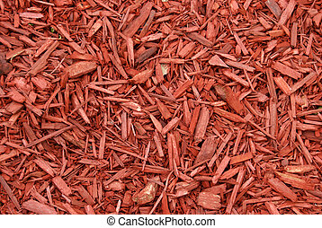 Red Mulch - A closeup shot of red mulch used for garden...