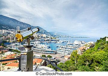 Monaco Montecarlo principality aerial view cityscape. Azure...
