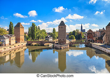 Strasbourg, medieval bridge Ponts Couverts and Cathedral....
