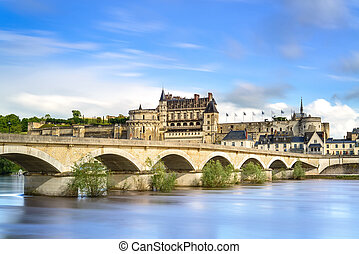 Amboise, village, bridge and medieval castle. Loire Valley,...