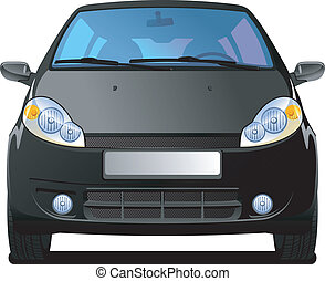 black Car - A Vector illustration of car front view Simple...