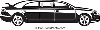 limousine - black and white vector illustration of...