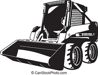 skid loader - A small skid loader black and white...