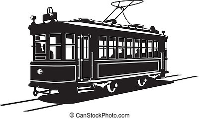 tramway - Vector black and white illustration of tram