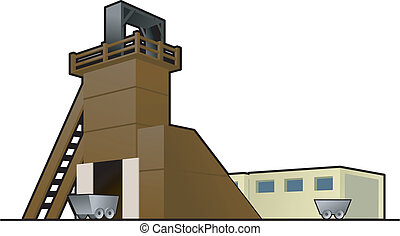 mine - color vector illustration of coal mine. Exterior.
