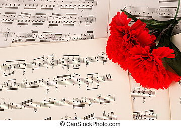 Flamenco music - Carnation and a score symbolizing flamenco...