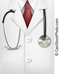 Close up of a doctors lab white coat and stethoscope Vector...