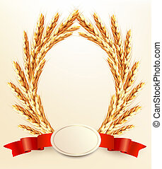 Ripe yellow wheat ears with red ribbons Vector background