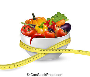 Diet meal. Vegetables in a bowl with measuring tape. Concept of diet. Vector illustration