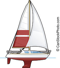 yacht - illustration of a sailing vessel. Simple gradients...