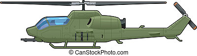 attack helicopter - illustration of the helicopter. Simple...