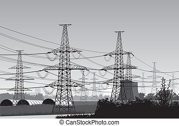 power lines. - Vector illustration of electricity pylons....
