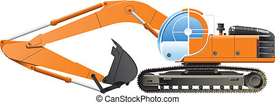 excavator - Vector color illustration of an excavator....