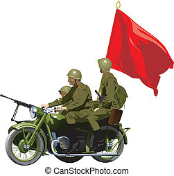 Military Motorcycles - Motorcycles WWII . (Simple gradients...