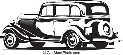 retro car - Vector illustration of a retro car black and...