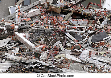 Earthquake ruins - Big pile of ruins after the earthquake