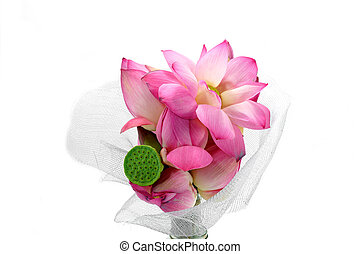 Flower arrangements with lotus on isolate white background.