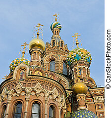 Church of Spilled Blood - Top church of onion domes. Church...