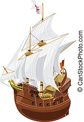 galleon - vector illustration of a medieval sailing ship.
