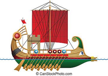 Bireme - vector illustration of a antique ship. Simple...